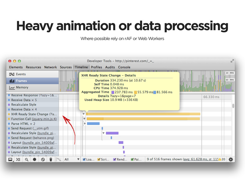 Heavy animation or data processing Where possib...
