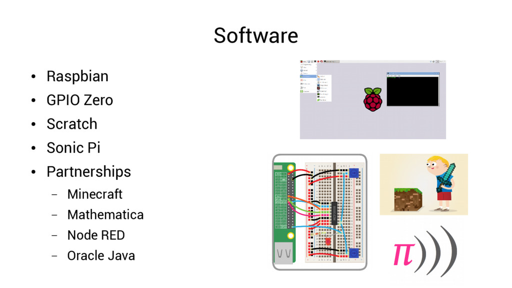 Software ● Raspbian ● GPIO Zero ● Scratch ● Son...