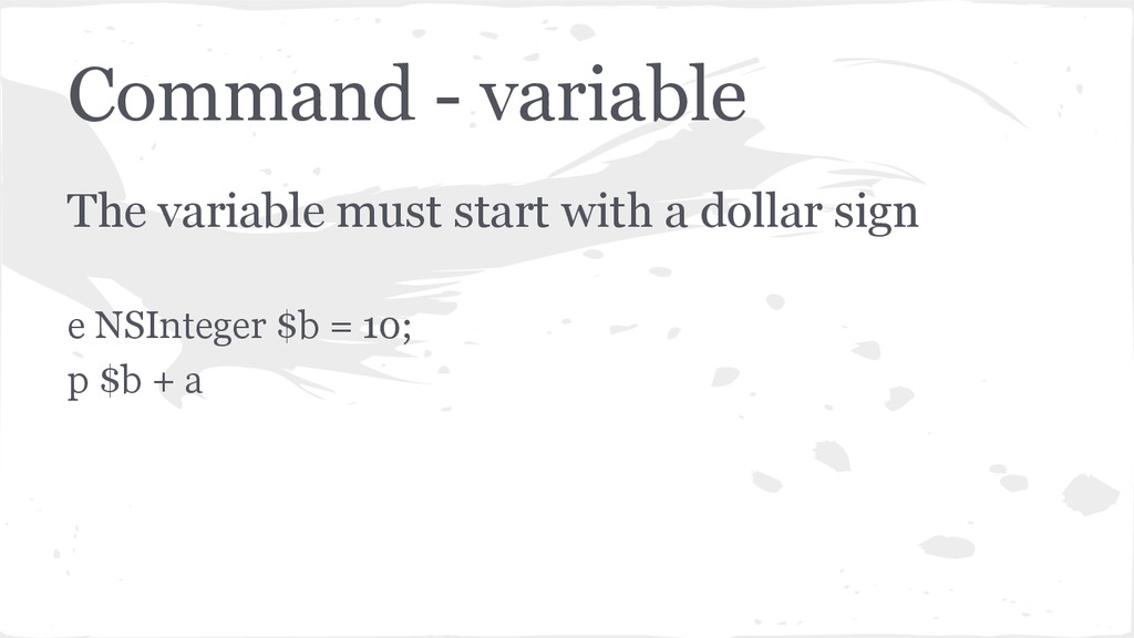 Command - variable The variable must start with...