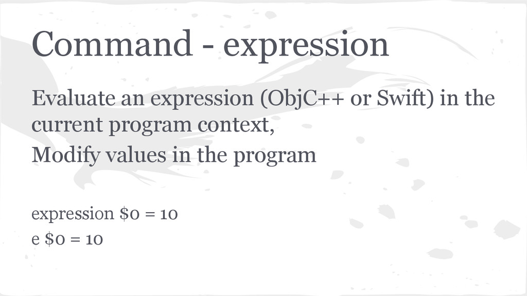 Command - expression Evaluate an expression (Ob...