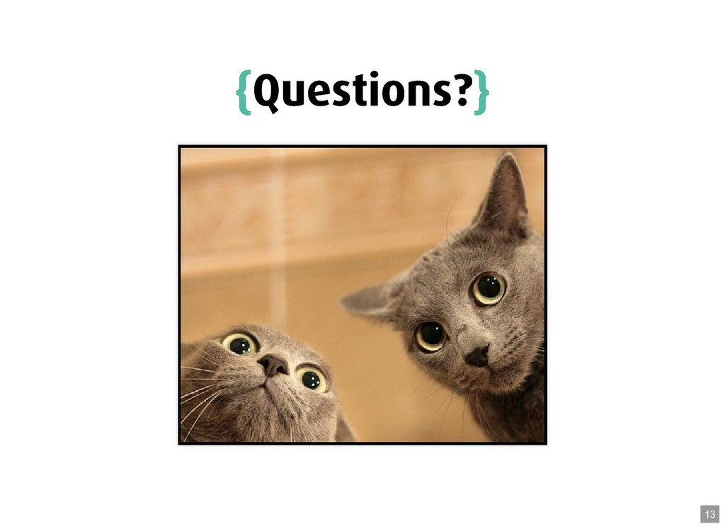 { {Questions? Questions?} } 13