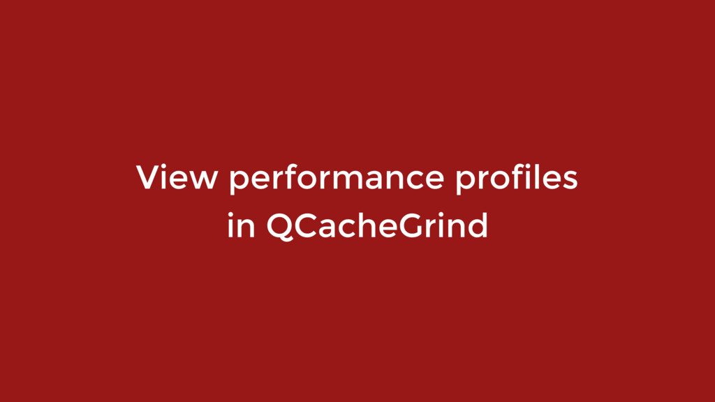 View performance profiles 