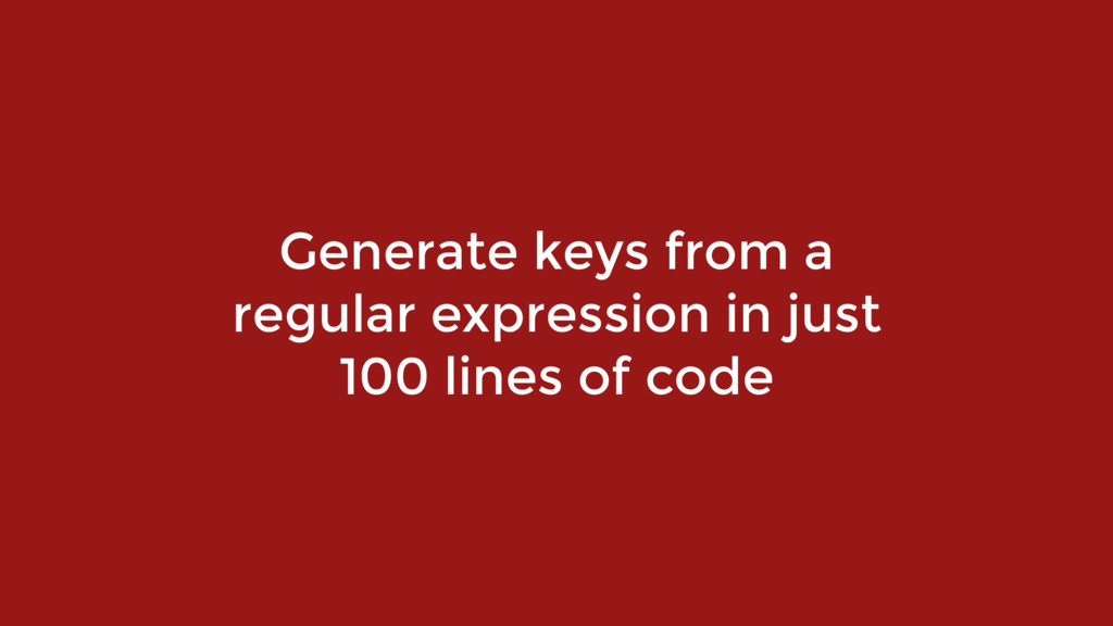 Generate keys from a 