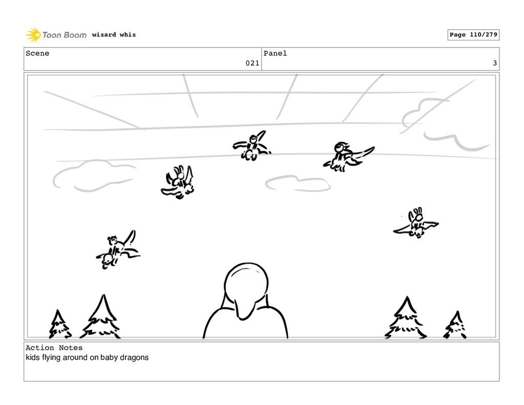 Scene 021 Panel 3 Action Notes kids flying aroun...
