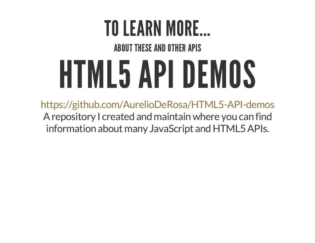 TO LEARN MORE... ABOUT THESE AND OTHER APIS HTM...
