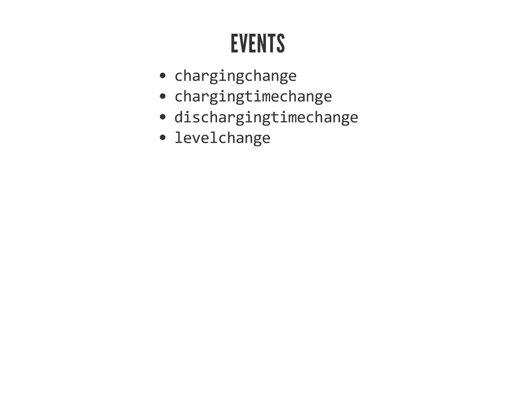 EVENTS chargingchange chargingtimechange discha...