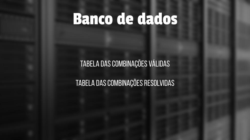 Tabela das combinações válidas Banco de dados T...