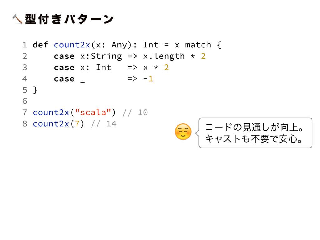 ܕ  ͖ ύ λ ʔϯ 1 def count2x(x: Any): Int = x ma...