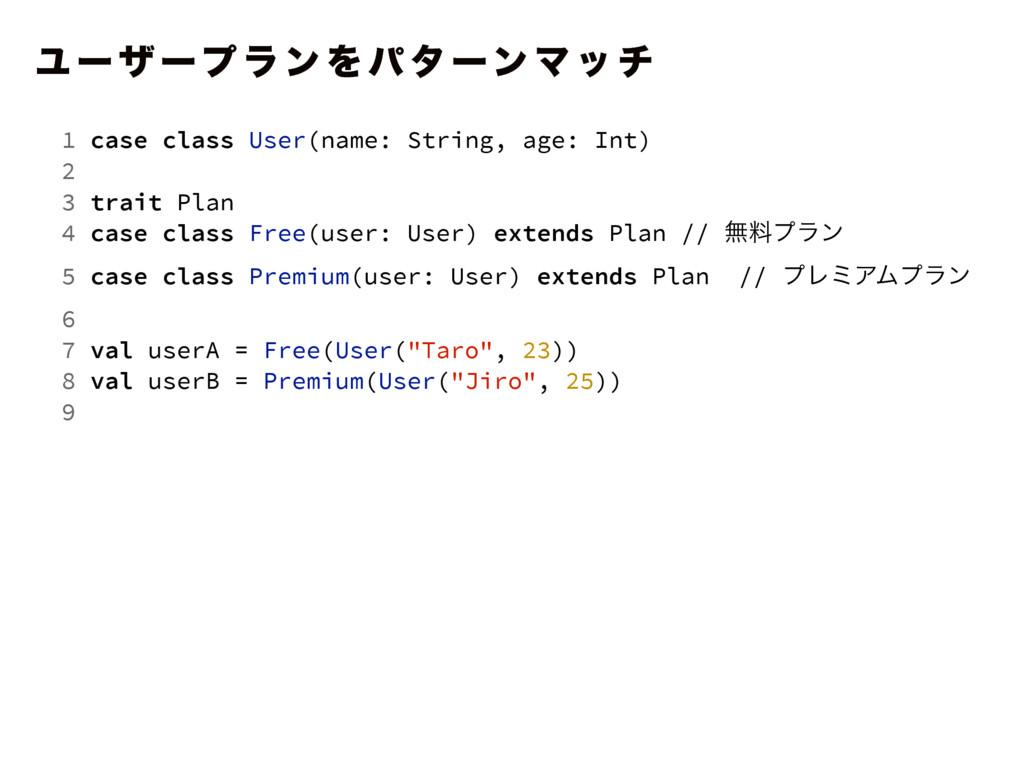 Ϣ ʔ β ʔϓ ϥ ϯ Λ ύ λ ʔϯ Ϛ ο ν 1 case class User(n...