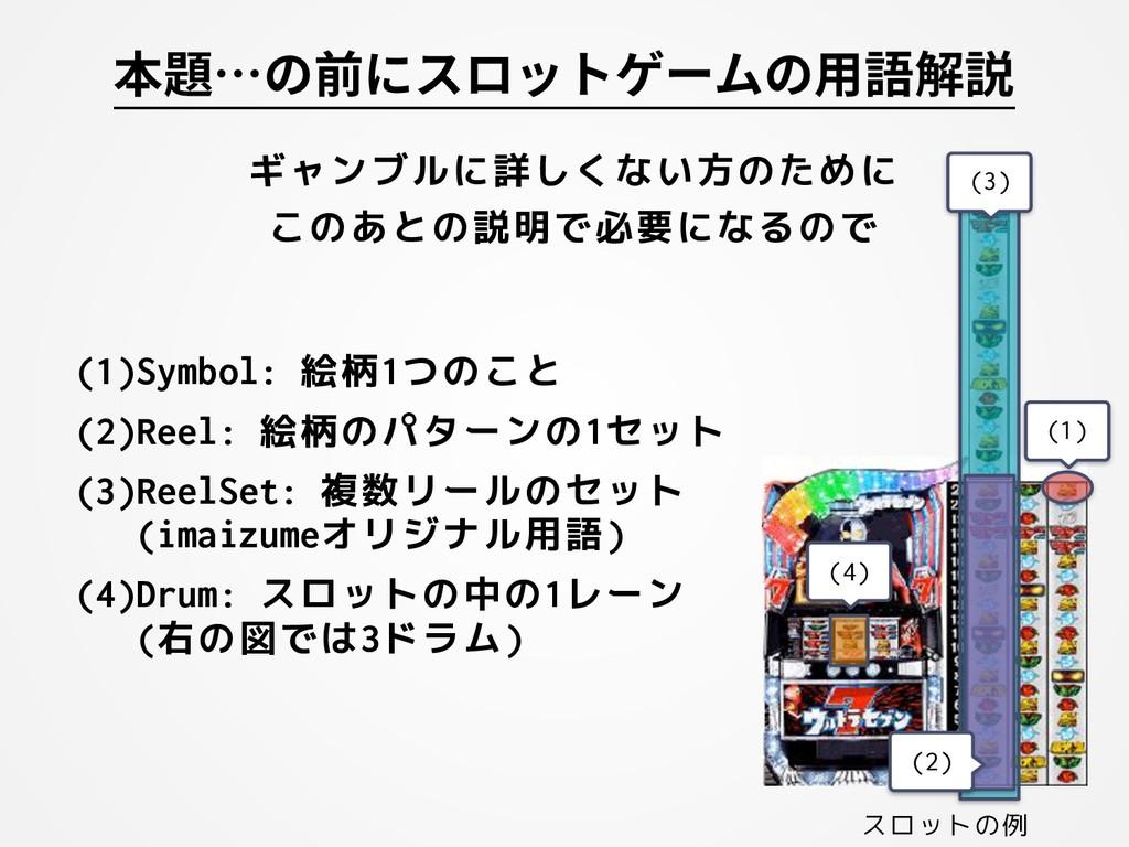 (1)Symbol: 絵柄1つのこと (2)Reel: 絵柄のパターンの1セット (3)Ree...