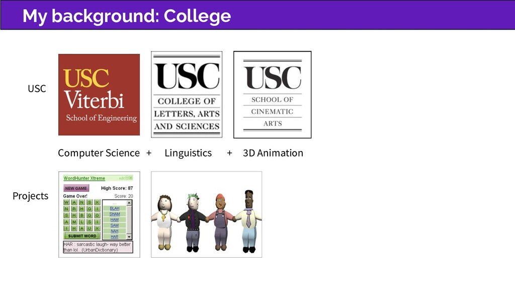 My background: College USC Computer Science + L...
