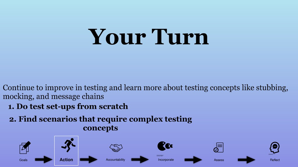 Continue to improve in testing and learn more a...