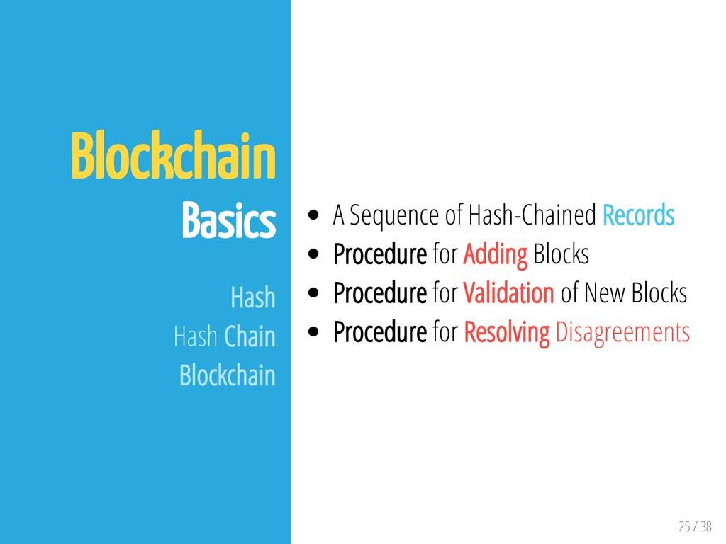 25 / 38 Blockchain Basics Hash Hash Chain Block...
