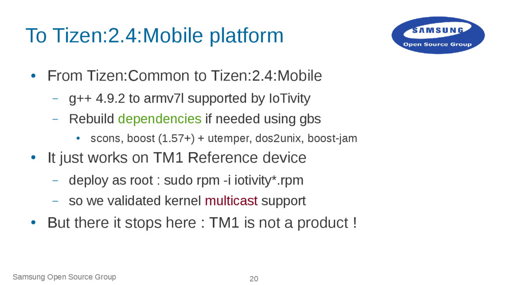 Samsung Open Source Group 20 To Tizen:2.4:Mobil...