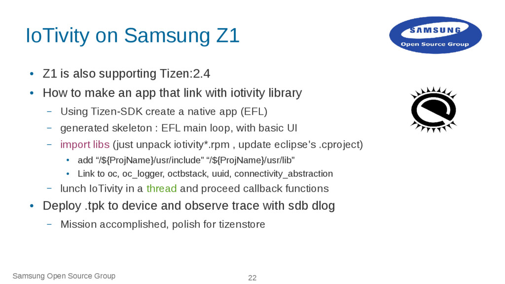 Samsung Open Source Group 22 IoTivity on Samsun...