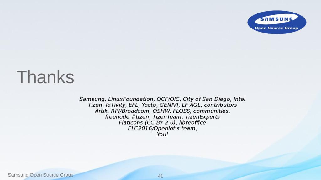 Samsung Open Source Group 41 Thanks Samsung, Li...