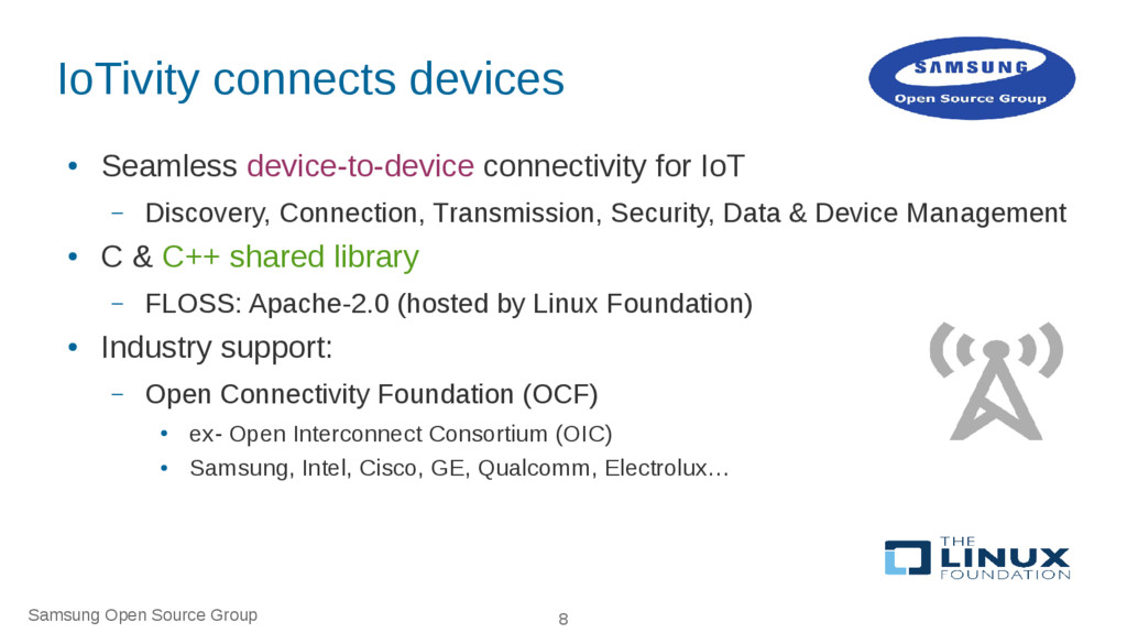 Samsung Open Source Group 8 IoTivity connects d...