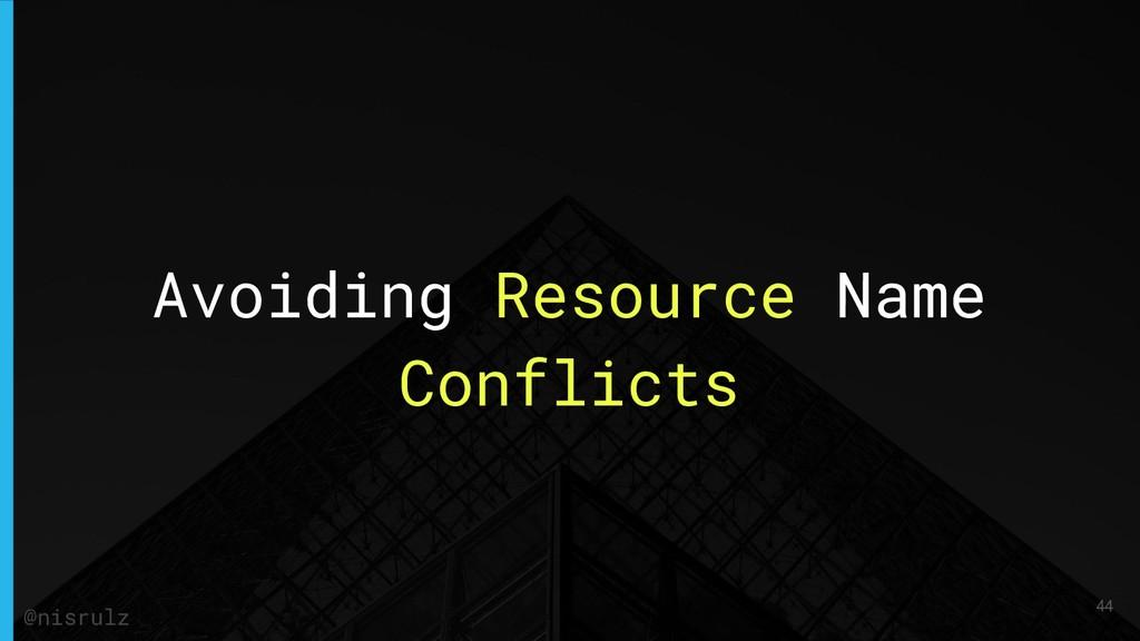 Avoiding Resource Name Conflicts 44 @nisrulz