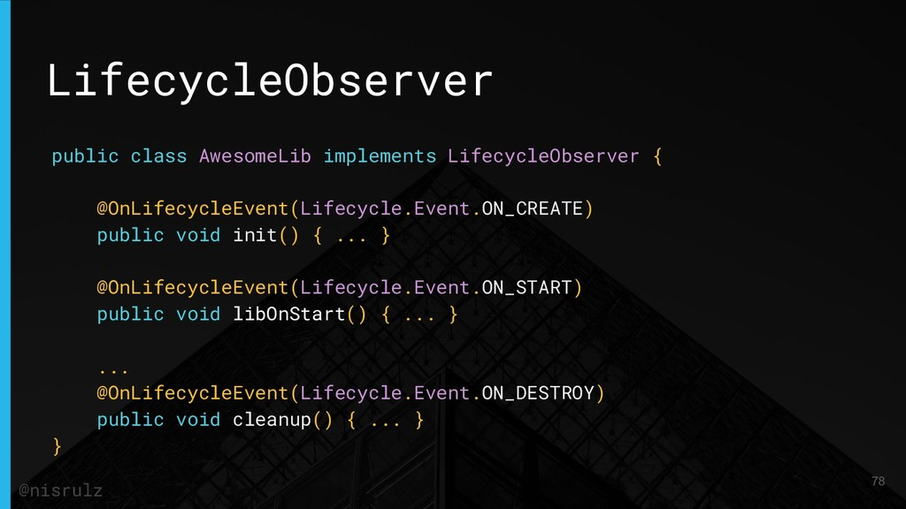 LifecycleObserver public class AwesomeLib imple...