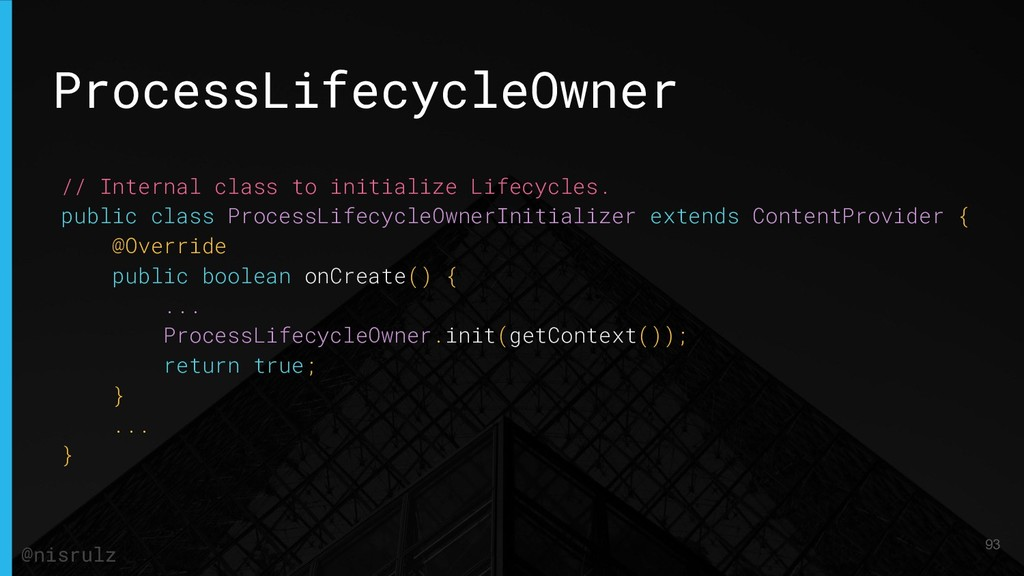 ProcessLifecycleOwner // Internal class to init...