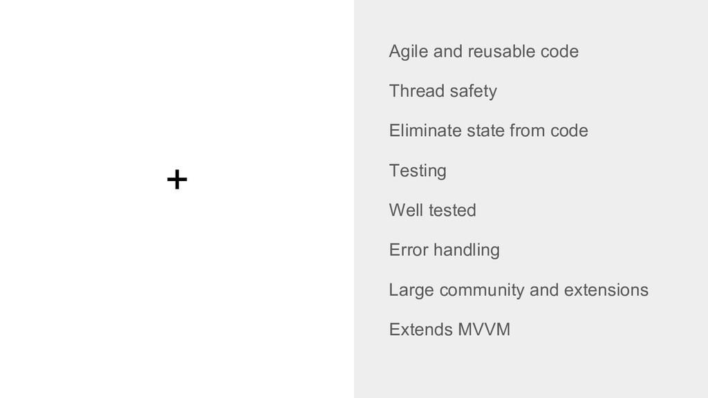 + Agile and reusable code Thread safety Elimina...