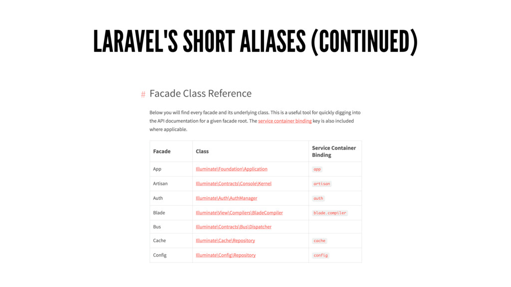 LARAVEL'S SHORT ALIASES (CONTINUED)