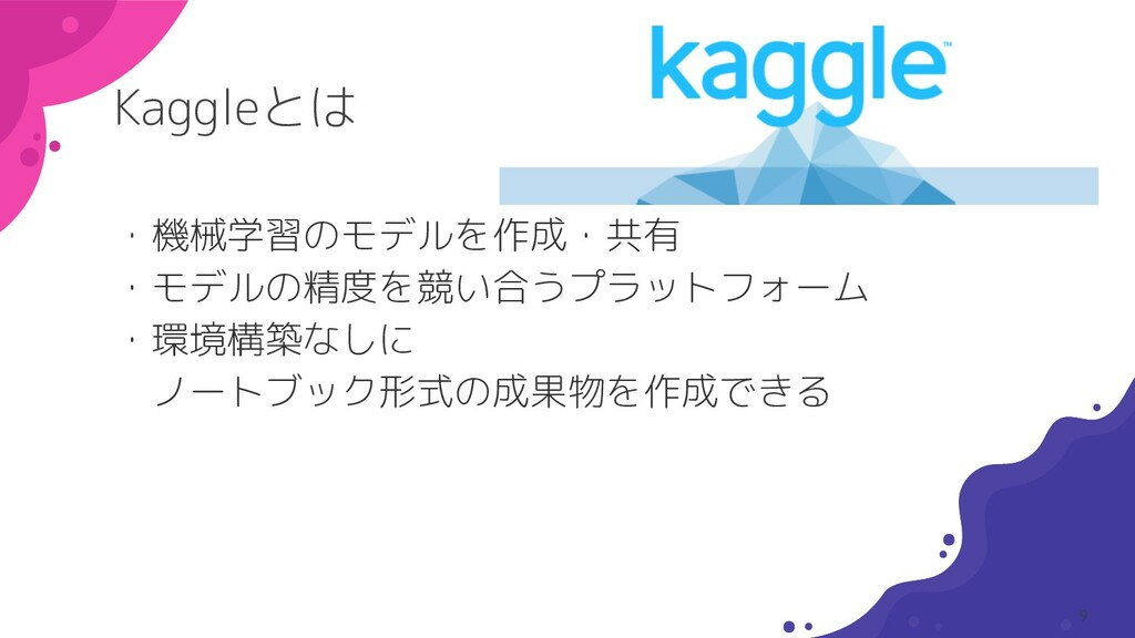 Kaggleとは ・機械学習のモデルを作成・共有 ・モデルの精度を競い合うプラットフォーム ・...