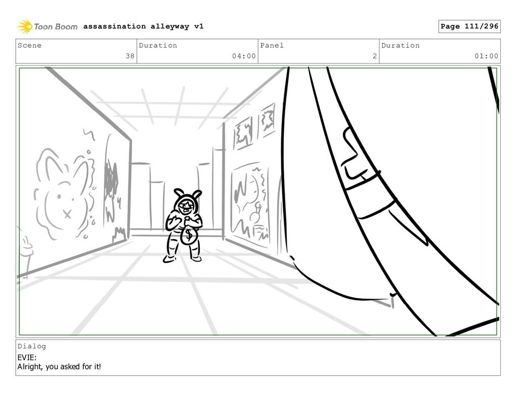 Scene 38 Duration 04:00 Panel 2 Duration 01:00 ...