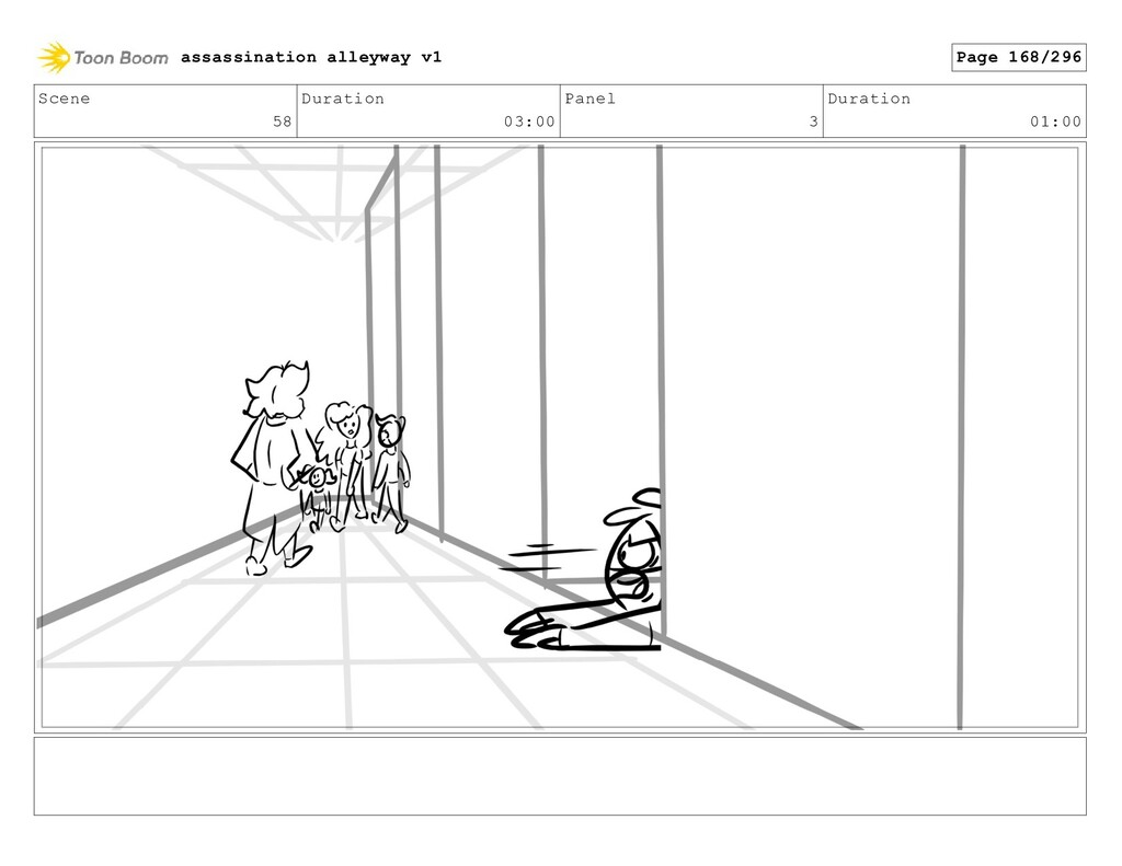 Scene 58 Duration 03:00 Panel 3 Duration 01:00 ...