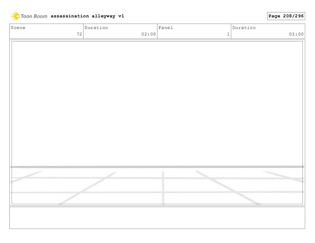 Scene 72 Duration 02:00 Panel 1 Duration 01:00 ...