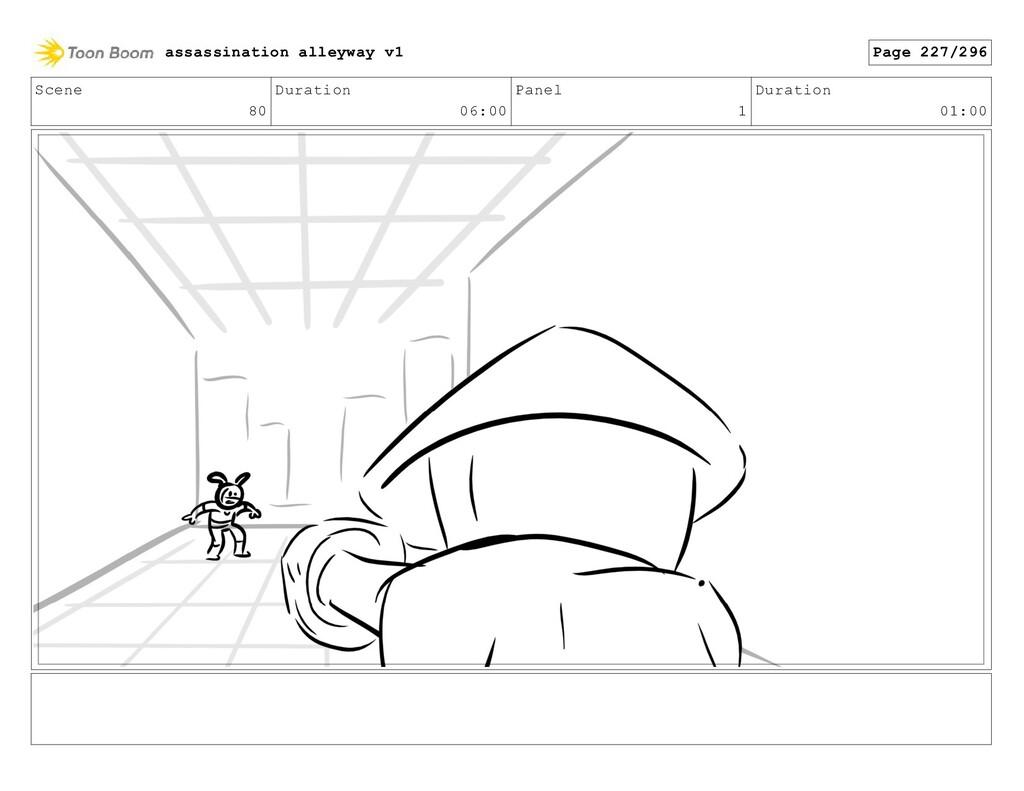Scene 80 Duration 06:00 Panel 1 Duration 01:00 ...