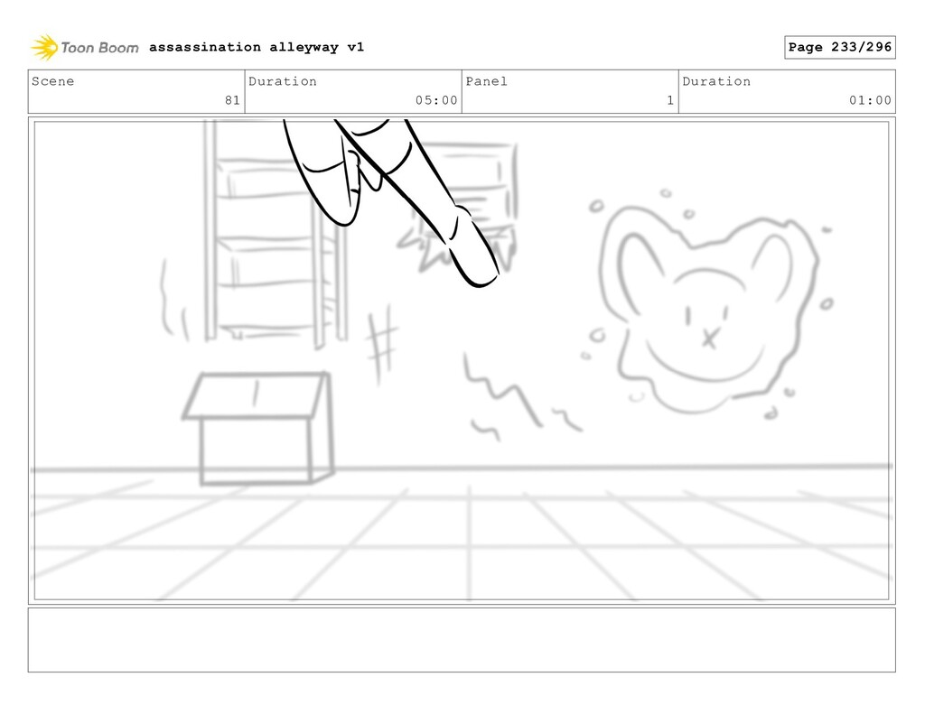 Scene 81 Duration 05:00 Panel 1 Duration 01:00 ...