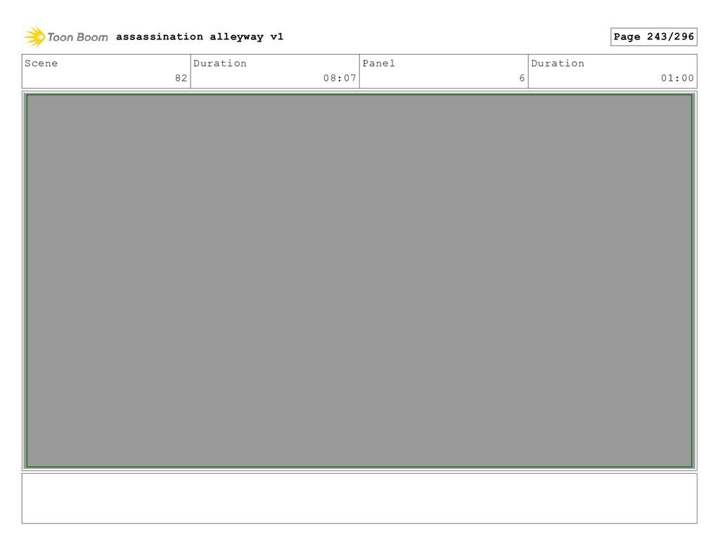 Scene 82 Duration 08:07 Panel 6 Duration 01:00 ...
