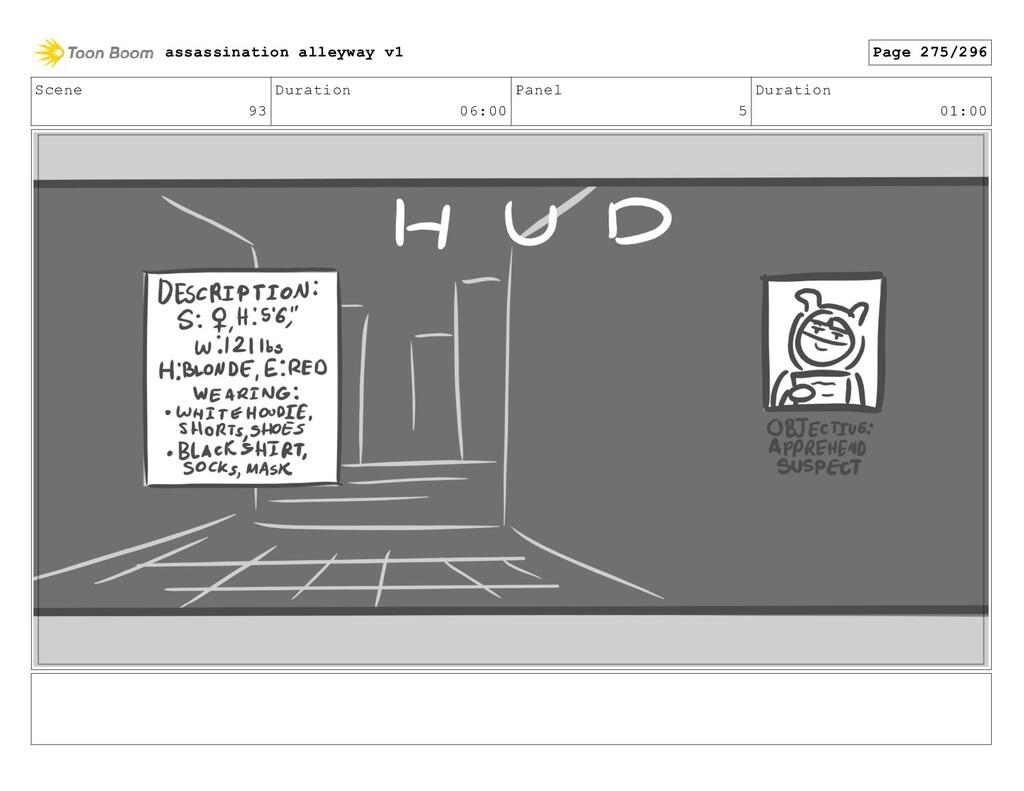 Scene 93 Duration 06:00 Panel 5 Duration 01:00 ...