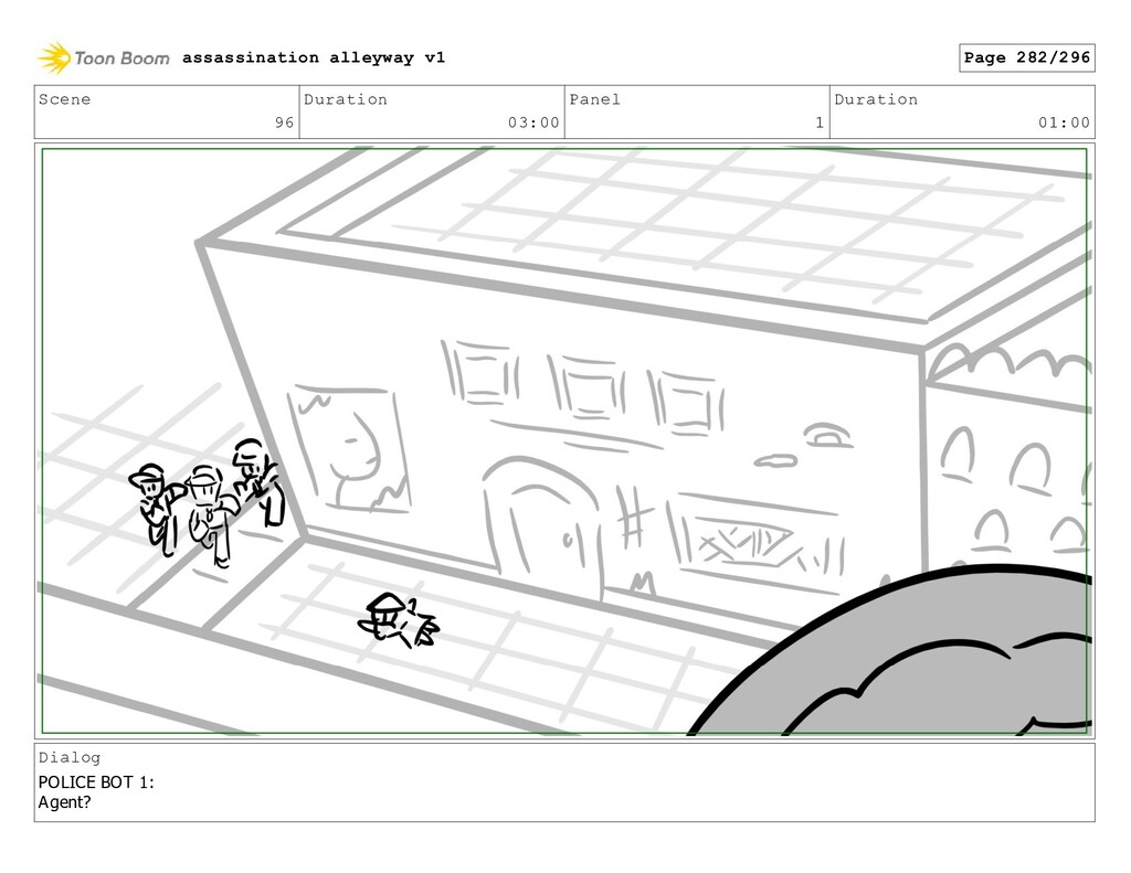 Scene 96 Duration 03:00 Panel 1 Duration 01:00 ...