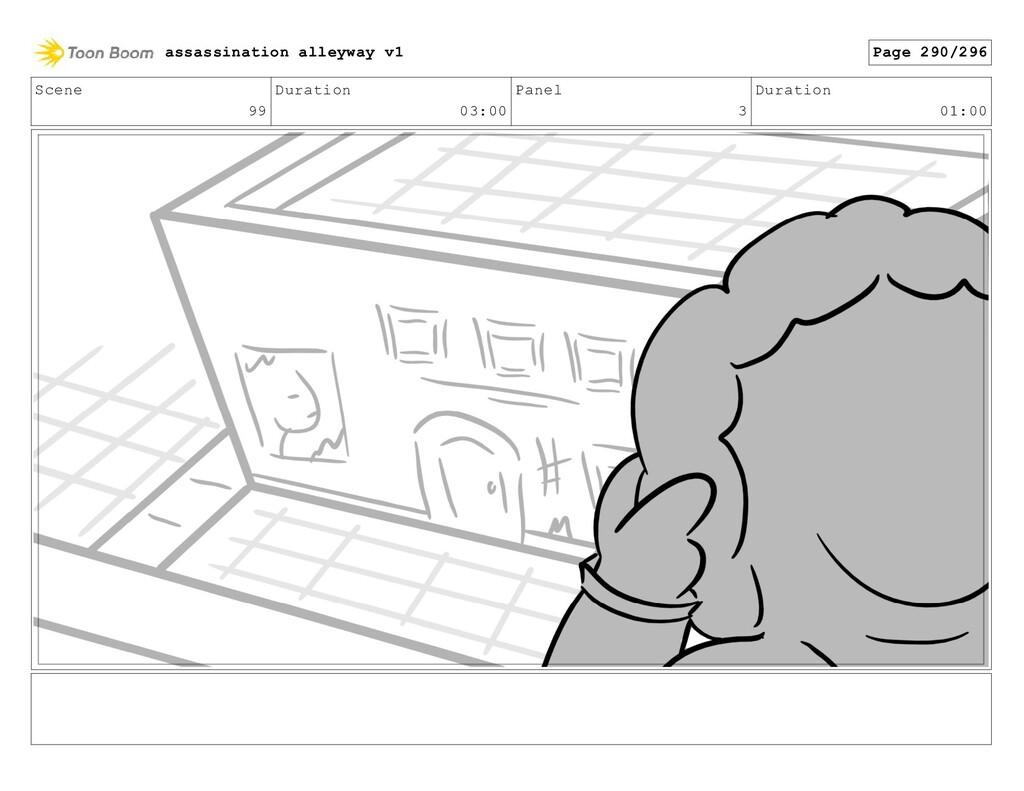 Scene 99 Duration 03:00 Panel 3 Duration 01:00 ...