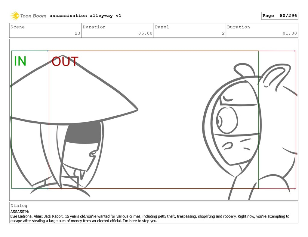 Scene 23 Duration 05:00 Panel 2 Duration 01:00 ...