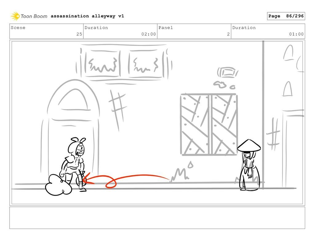 Scene 25 Duration 02:00 Panel 2 Duration 01:00 ...