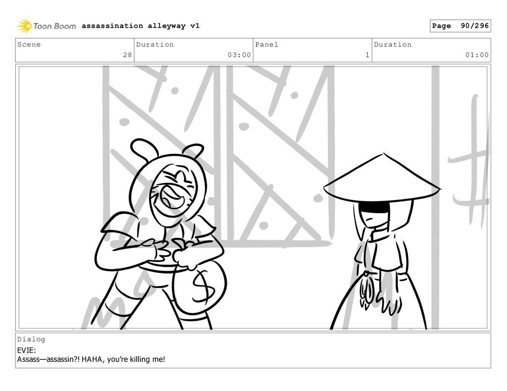 Scene 28 Duration 03:00 Panel 1 Duration 01:00 ...