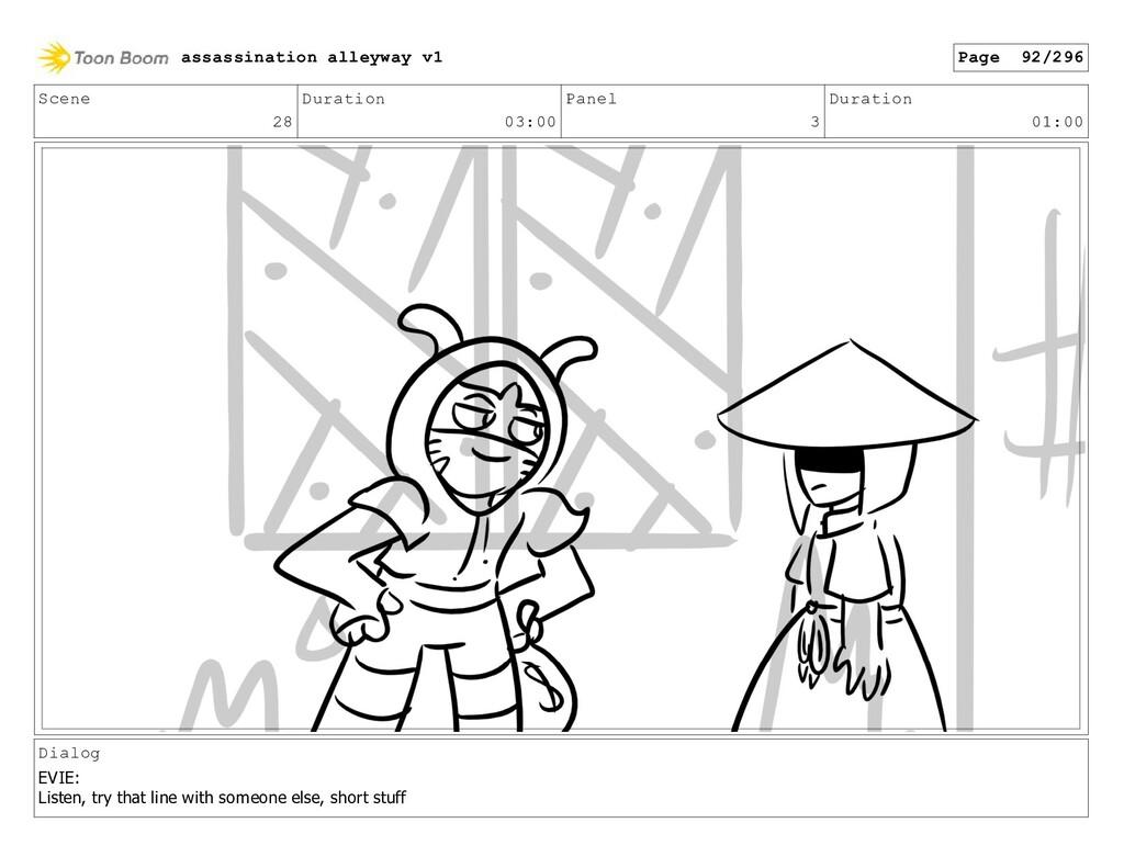 Scene 28 Duration 03:00 Panel 3 Duration 01:00 ...