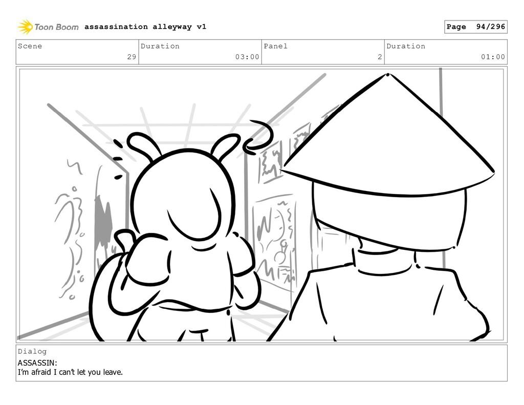 Scene 29 Duration 03:00 Panel 2 Duration 01:00 ...