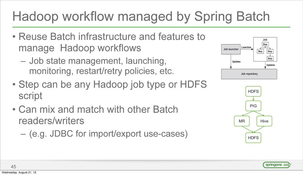 Hadoop workflow managed by Spring Batch • Reuse...