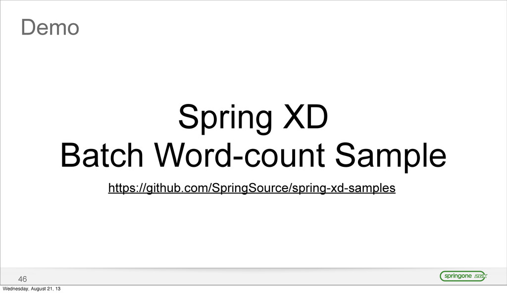 Demo 46 Spring XD Batch Word-count Sample https...