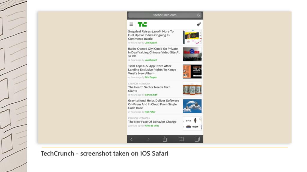 TechCrunch - screenshot taken on iOS Safari