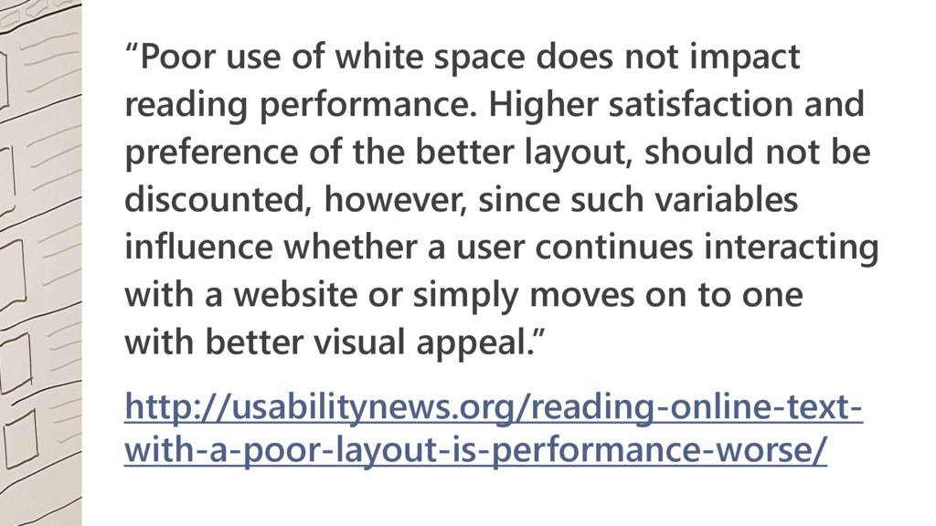 """""""Poor use of white space does not impact readin..."""