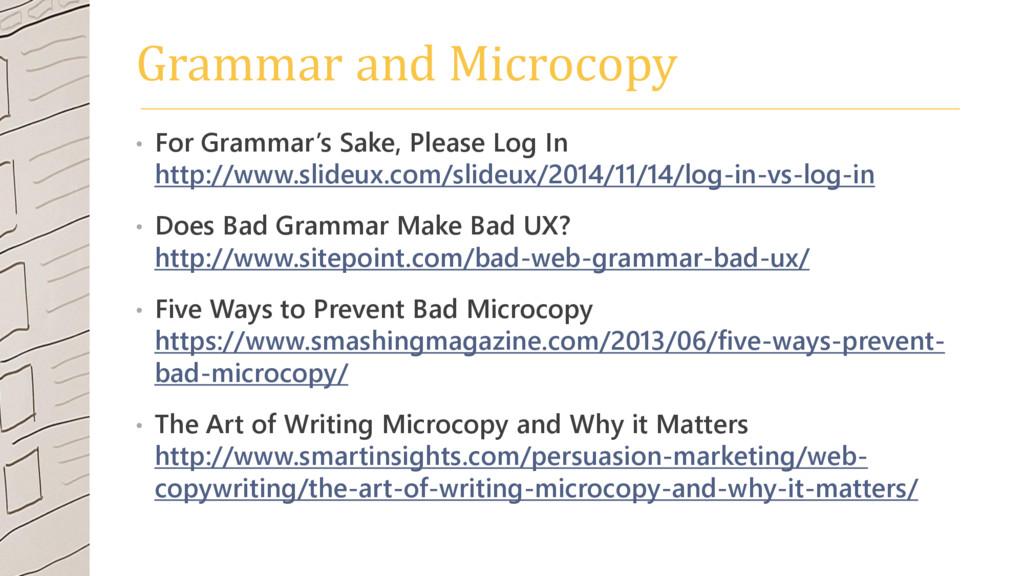 Grammar and Microcopy • For Grammar's Sake, Ple...