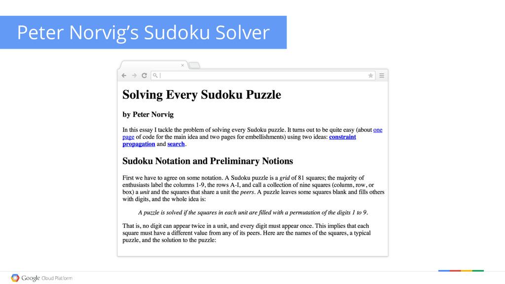 Peter Norvig's Sudoku Solver