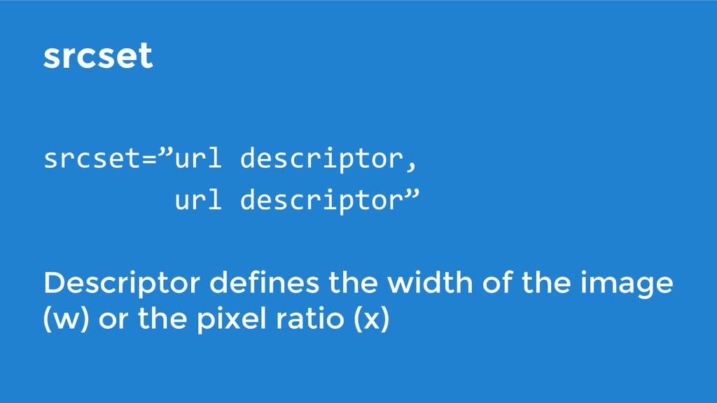 srcset Descriptor defines the width of the imag...