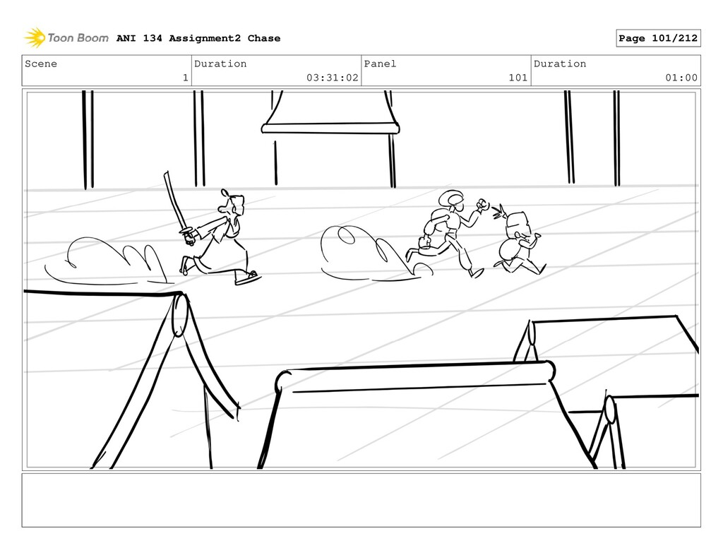 Scene 1 Duration 03:31:02 Panel 101 Duration 01...