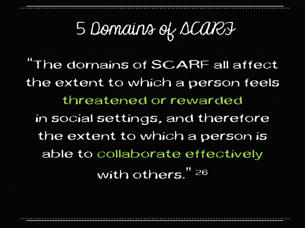"5 Domains of SCARF ""The domains of SCARF all af..."